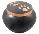 Pet Cremation Urns: Copper Kitty Pawprints