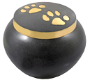 Pet Cremation Urns: Gold Kitty Pawprints