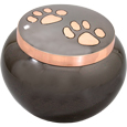 Pet Cremation Urns: Copper Kitty Pawprints- Glossy