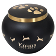 Gold Kitty Pawprints with Leaping Kitty Midnight Black Urn
