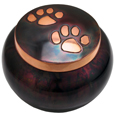 Pet Cremation Urns: Copper Kitty Pawprints- Antiqued