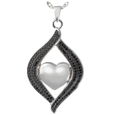 Teardrop Ribbon Heart Midnight Stones Pet Cremation Jewelry