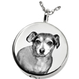 Photo Laser Engraved Pet Cremation Jewelry: Simple Round