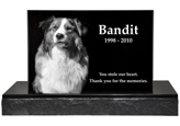 Pet Burial Headstone shown with dog photo and epitaph