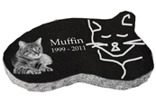 Granite Cat Pet Marker with Photo- Black