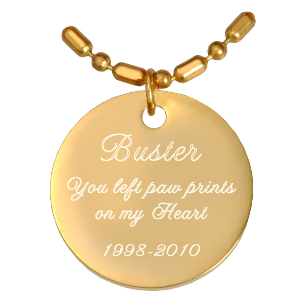 engraved gold plated pendant with chain or keychain