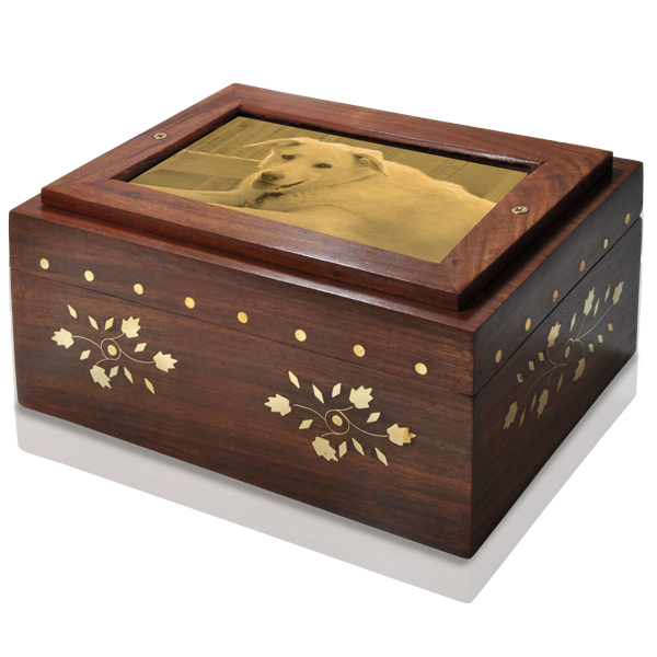 Photo wood dog urn chest shown with metal photo plaque of pet dog