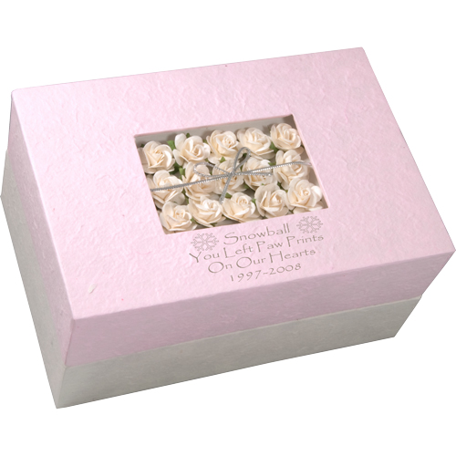 Pet Memory Chest Insert Floral Bouquet Pink with engraved snowflake