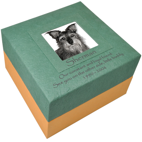 Pet Embrace Earthurn Green with Photo Insert shown engraved