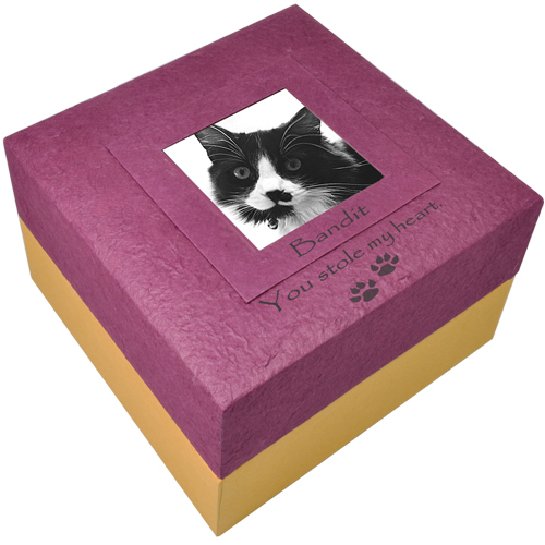 Pet biodegradable urn purple with photo shown engraved