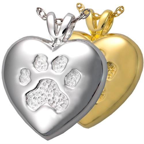 Textured Paw Print Pet Cremation Jewelry shown in silver and gold