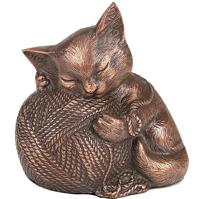 Precious Kitty Copper Urn with ball of yarn
