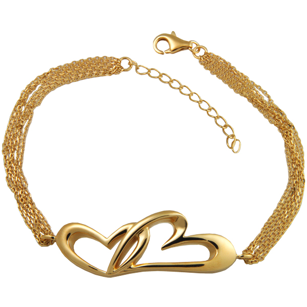 Pet cremation jewelry linked in love bracelet gold plated