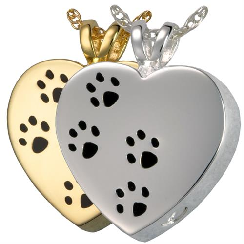 Paw Prints On My Heart Pet Pendant shown in gold and silver options