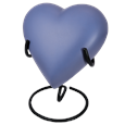 Brass Heart Pet Urn- Blueberry shown on display stand