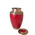 Lid shown open of Cherry Red Medium Pet Urn