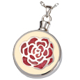 Pet Cremation Jewelry Cream with Red Rose