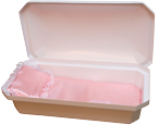Standard Pet Casket- White with Pink Bedding