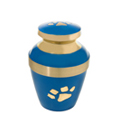 Small Blue with Brass Pawprint pet cremation urn