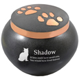 copper kitty pawprints urn shown engraved