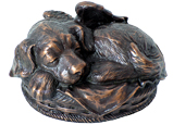 Sleeping Angel Dog Metal Urn -Copper