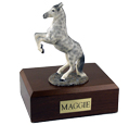 Horse Urn: Gray Dapple Rearing Figurine - Walnut Wood