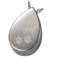 Engraved back shown on Slide Teardrop pet cremation jewelry