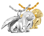 Pet Cremation Jewelry- Lop Bunny Rabbit shown in silver and gold