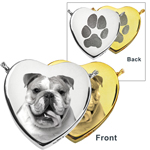 Photo Front and Print Back Heart Pet Cremation Jewelry in silver and gold