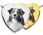 Photo Laser Engraved Peaceful Heart Pet Jewelry shown in silver and gold