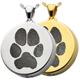 Pet Print Cremation Jewelry- Simple Round Pawprint in silver and gold