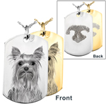 Photo Front and Print Back Dog Tag Pet Memorial Jewelry in silver or gold