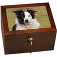 Large Wooden Dog Urn With Photo