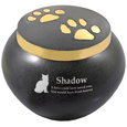 gold pawprints pet urn shown engraved