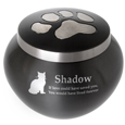 Cat Pawprint urn shown engraved with clip art