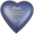 Brass Heart Cat Urn- Blueberry shown engraved