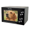 Espresso wood pet urn in xl and horizontal display