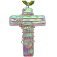 Pet Memorial Glass Urn Jewelry: Cross Earthy Green