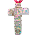 Pet Memorial Glass Urn Jewelry: Cross Vivid Pink