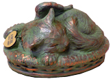 Sleeping Angel Cat Cremation Urn - Verdigris