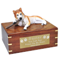 Red Husky with Blue Eyes Wood Pet Urn with plaque