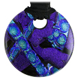 Pet Memorial Glass Urn Jewelry: Classic Embrace Round Purple-Blue