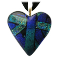 Pet Memorial Glass Urn Jewelry: Classic Heart Purple-Blue