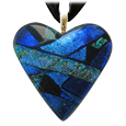 Pet Memorial Glass Urn Jewelry: Classic Heart Silver-Blue