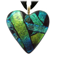 Pet Memorial Glass Urn Jewelry: Classic Heart Blue-Green