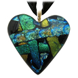 Pet Memorial Glass Urn Jewelry: Classic Heart Blue-Green-Gold