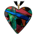 Pet Memorial Glass Urn Jewelry: Classic Heart Multi-color