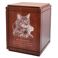 Cherry Finish Wood Grooved Vertical Cat Urn