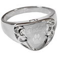 Pet Cremation Jewelry Men's Engravable Shield Ring shown engraved