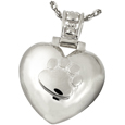 Paw Print Heart Urn Pendant with Paw Print Bail